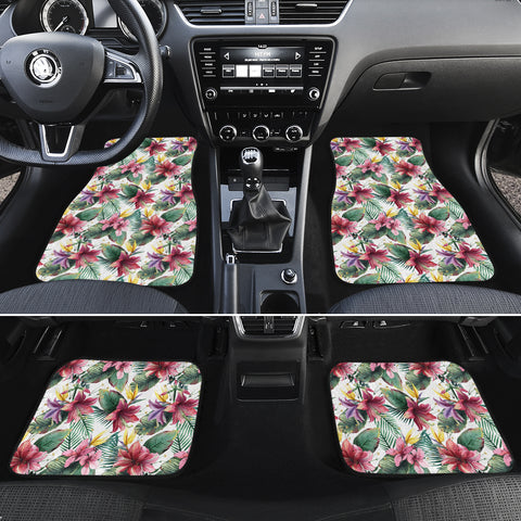 Tropical Palm Leaf White Hawaii Car Floor Mats - AH - J6 - Alohawaii
