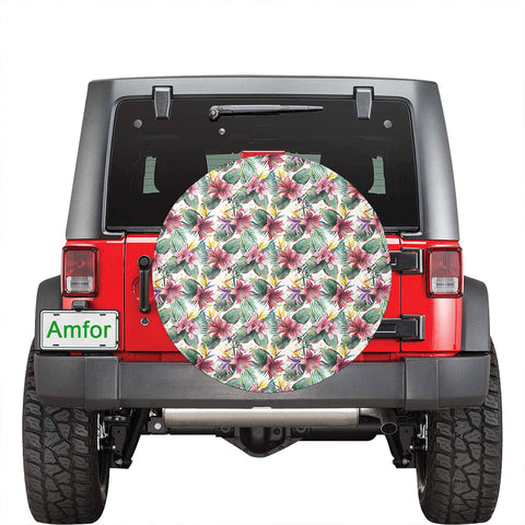 Tropical Palm Leaf White Hawaii Spare Tire Cover - AH - J4 - Alohawaii