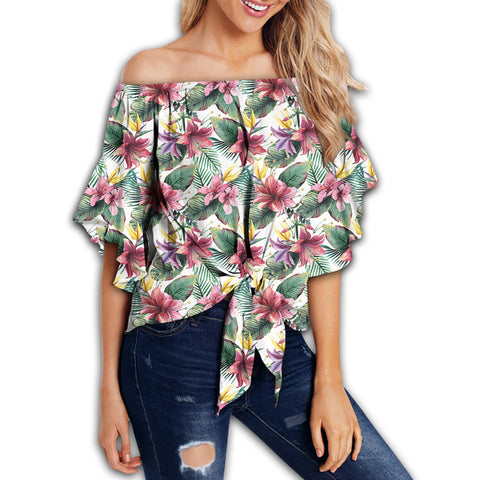 Tropical Palm Leaf White Women's Off Shoulder Wrap Waist Top - AH - J4