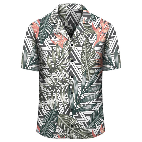 Image of Tropical Palm Leaves And Flowers Hawaiian Shirt