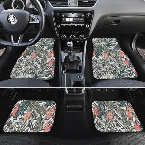 Tropical Palm Leaves And Flowers Hawaii Car Floor Mats - AH - J6 - Alohawaii