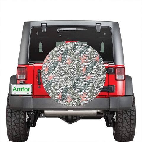 Image of Tropical Palm Leaves And Flowers Hawaii Spare Tire Cover - AH - J4 - Alohawaii