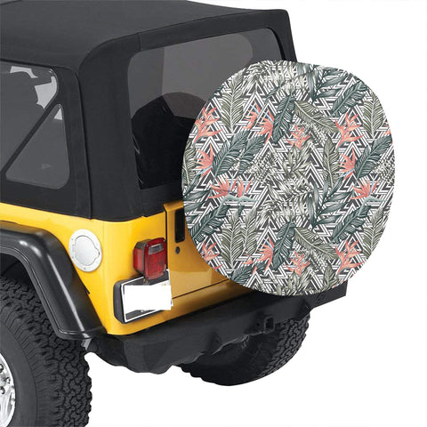 Tropical Palm Leaves And Flowers Hawaii Spare Tire Cover - AH - J4 - Alohawaii