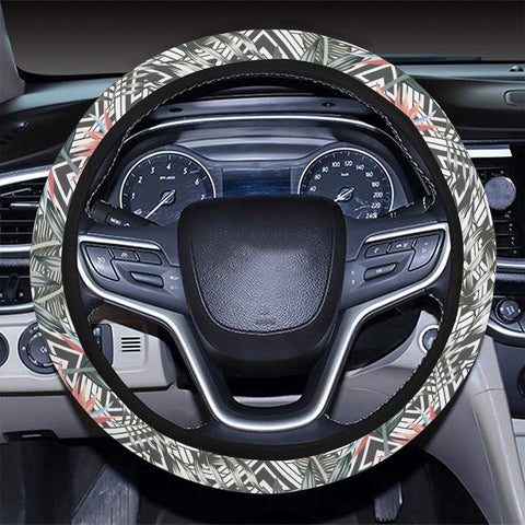 Tropical Palm Leaves And Flowers Hawaii Universal Steering Wheel Cover with Elastic Edge - AH - J6 - Alohawaii