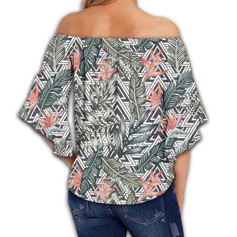 Tropical Palm Leaves And Flowers Women's Off Shoulder Wrap Waist Top - AH - J4