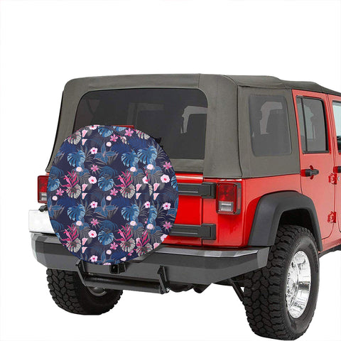 Tropical Palm Tree And Flower Hawaii Spare Tire Cover - AH - J4 - Alohawaii