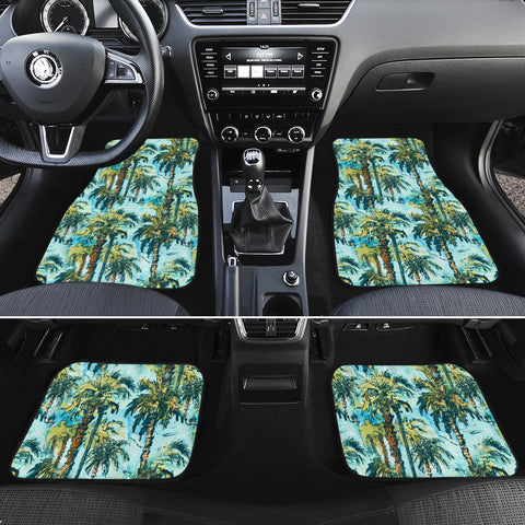 Tropical Palm Trees Blue Hawaii Car Floor Mats - AH - J6 - Alohawaii