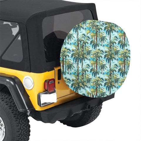 Tropical Palm Trees Blue Hawaii Spare Tire Cover - AH - J4 - Alohawaii