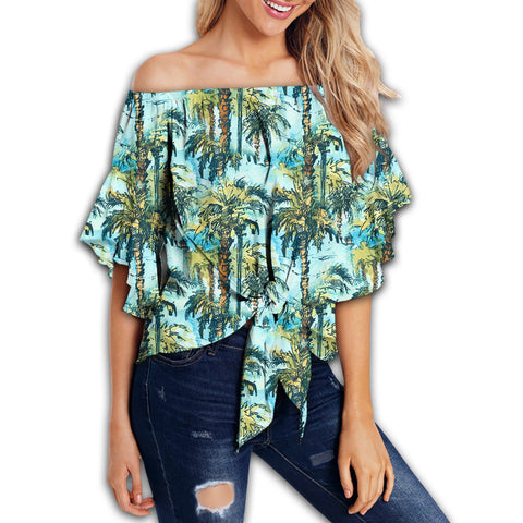 Tropical Palm Trees Blue Women's Off Shoulder Wrap Waist Top - AH - J4