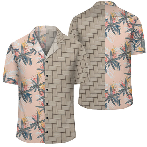Image of Tropical Pattern Pink Lauhala Moiety Hawaiian Shirt - AH - JR - Alohawaii