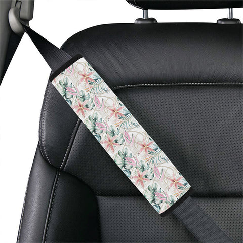 Tropical Pattern With Orchids Leaves And Gold Chains Hawaii Car Belt Pads - AH - J4 - Alohawaii