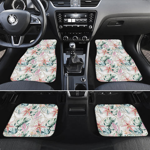 Tropical Pattern With Orchids Leaves And Gold Chains Hawaii Car Floor Mats - AH - J6 - Alohawaii