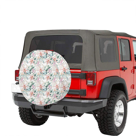 Tropical Pattern With Orchids Leaves And Gold Chains Hawaii Spare Tire Cover - AH - J4 - Alohawaii
