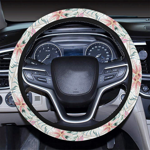 Tropical Pattern With Orchids Leaves And Gold Chains Hawaii Universal Steering Wheel Cover with Elastic Edge - AH - J6 - Alohawaii