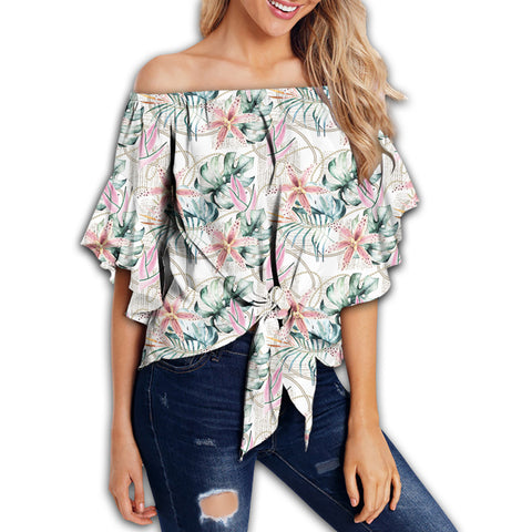 Tropical Pattern With Orchids Leaves And Gold Chains Women's Off Shoulder Wrap Waist Top - AH - J4