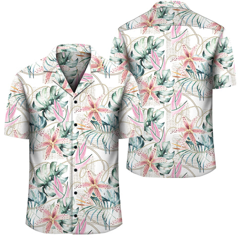 Tropical Pattern With Orchids Leaves And Gold Chains Hawaiian Shirt - AH - J1 - Alohawaii