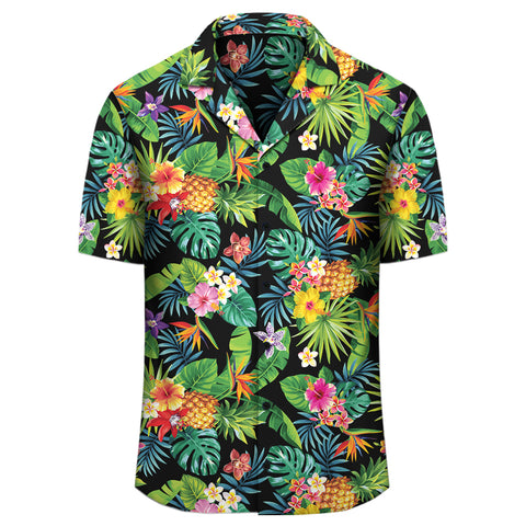 Image of Tropical Pattern With Pineapples Palm Leaves And Flowers Hawaiian Shirt - AH - J1 - Alohawaii