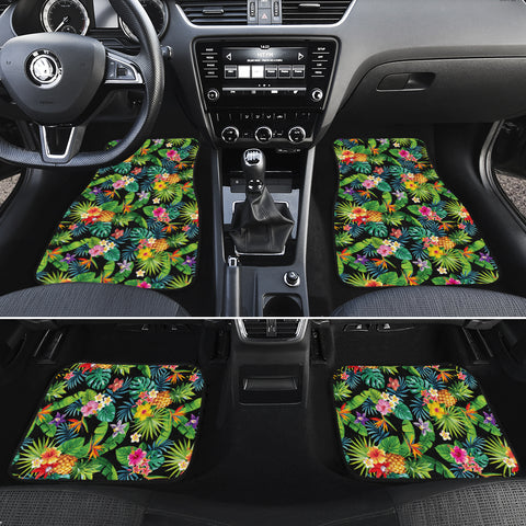 Tropical Pattern With Pineapples Palm Leaves And Flowers Hawaii Car Floor Mats - AH - J6 - Alohawaii