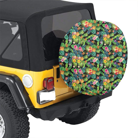 Tropical Pattern With Pineapples Palm Leaves And Flowers Hawaii Spare Tire Cover - AH - J4 - Alohawaii