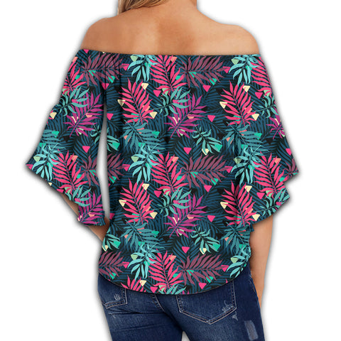 Tropical Pattern Women's Off Shoulder Wrap Waist Top - AH - J4