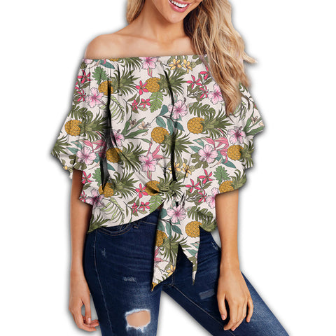 Tropical Pineaapple Women's Off Shoulder Wrap Waist Top - AH - J4