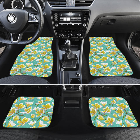Tropical Plumeria Blue Hawaii Car Floor Mats - AH - J6 - Alohawaii