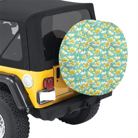 Tropical Plumeria Blue Hawaii Spare Tire Cover - AH - J4 - Alohawaii