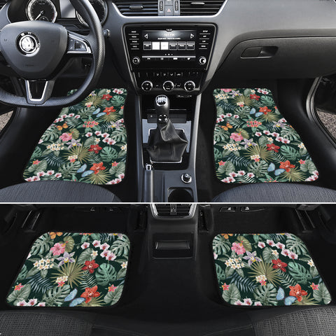 Tropical Plumeria Pattern With Palm Leaves Hawaii Car Floor Mats - AH - J6 - Alohawaii