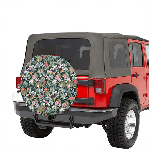 Tropical Plumeria Pattern With Palm Leaves Hawaii Spare Tire Cover - AH - J4 - Alohawaii