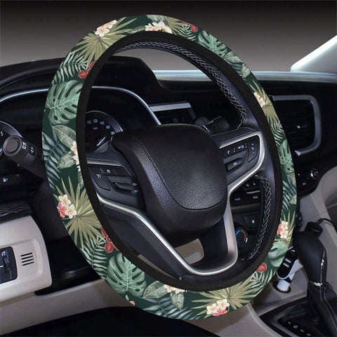 Tropical Plumeria Pattern With Palm Leaves Hawaii Universal Steering Wheel Cover with Elastic Edge - AH - J6 - Alohawaii