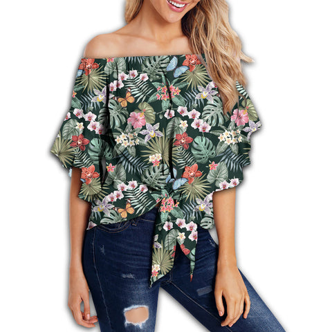 Tropical Plumeria Pattern With Palm Leaves Women's Off Shoulder Wrap Waist Top - AH - J4