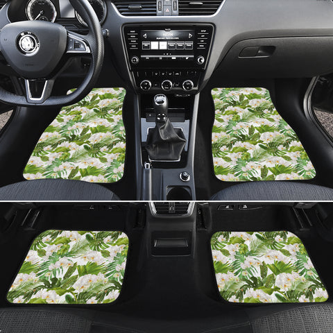 Tropical Plumeria White Hawaii Car Floor Mats - AH - J6 - Alohawaii