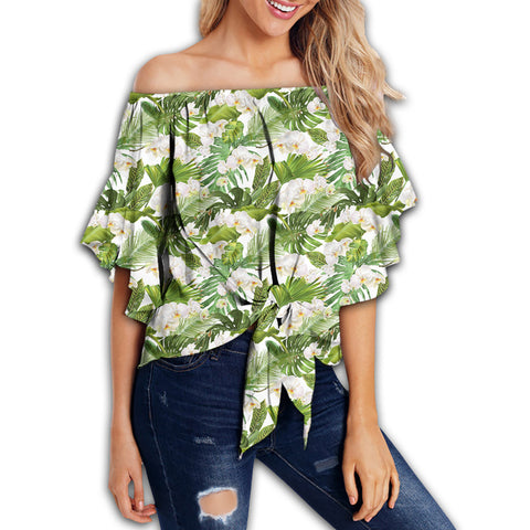Tropical Plumeria White Women's Off Shoulder Wrap Waist Top - AH - J4