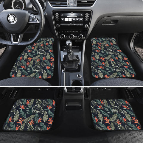 Tropical Strelitzia Black Hawaii Car Floor Mats - AH - J6 - Alohawaii