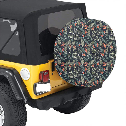 Tropical Strelitzia Black Hawaii Spare Tire Cover - AH - J4 - Alohawaii