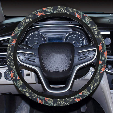 Tropical Strelitzia Black Hawaii Universal Steering Wheel Cover with Elastic Edge - AH - J6 - Alohawaii