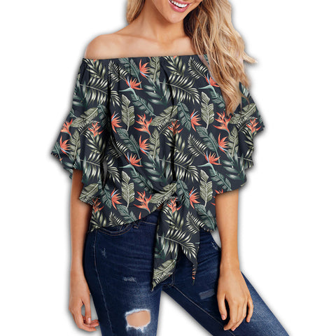 Tropical Strelitzia Black Women's Off Shoulder Wrap Waist Top - AH - J4