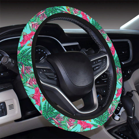 Tropical Strelitzia Blue Hawaii Universal Steering Wheel Cover with Elastic Edge - AH - J6 - Alohawaii