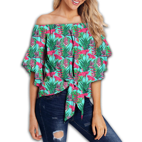 Tropical Strelitzia Blue Women's Off Shoulder Wrap Waist Top - AH - J4
