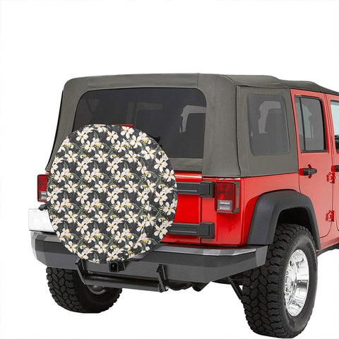 Tropical Toucans Hibiscus Palm Leaves Hawaii Spare Tire Cover - AH - J4 - Alohawaii