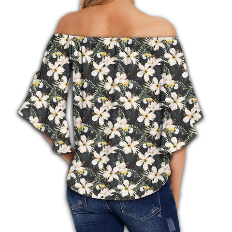 Tropical Toucans Hibiscus Palm Leaves Women's Off Shoulder Wrap Waist Top - AH - J4