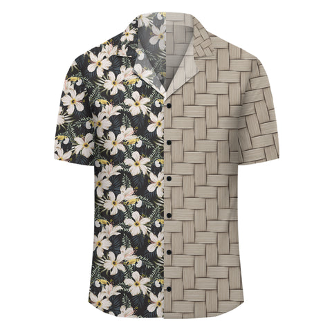 Image of Tropical Toucans Hibiscus Palm Leaves Lauhala Moiety Hawaiian Shirt - AH - JR - Alohawaii