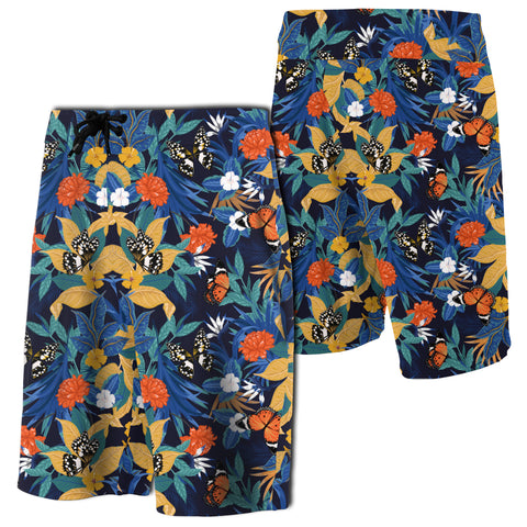 Image of Tropical Buttterfly And Flower Board Shorts - AH - J7 - Alohawaii