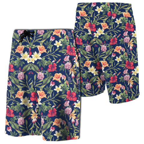 Tropical Hibiscus Red And Plumeria White Board Shorts - AH - J7 - Alohawaii