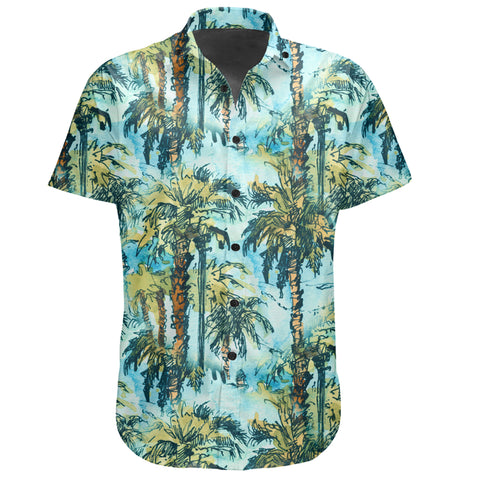 Hawaiian Shirt -  Tropical Palm Trees Blue Shirt - AH - J7 - Alohawaii
