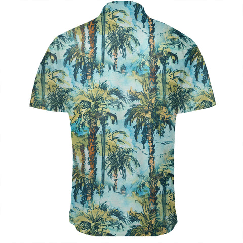 Image of Hawaiian Shirt -  Tropical Palm Trees Blue Shirt - AH - J7 - Alohawaii