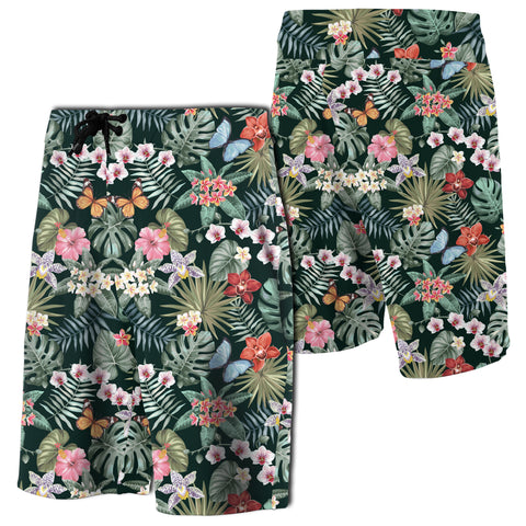Tropical Plumeria Pattern With Palm Leaves Board Shorts - AH - J7 - Alohawaii