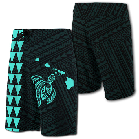 Hawaii Kakau Polynesian Turtle Map Board Shorts - Turquoise - AH - J6 - Alohawaii