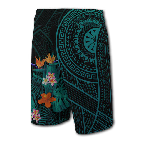 Hawaii Tropical Flowers Polynesian - Board Shorts - Turquoise