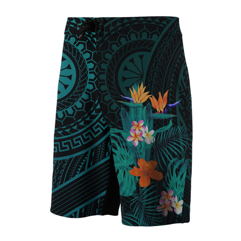Image of Hawaii Tropical Flowers Polynesian - Board Shorts - Turquoise - Haka Style